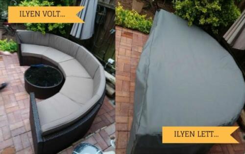 Félköríves modern rattan kerti kanapé takaróponyva készítése